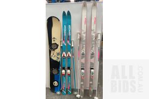 Pair of Atomic Skis and O.Sin Snowboard