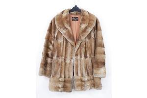 Vintage Cornelius Furs Silver Musquash Three Quarter Coat