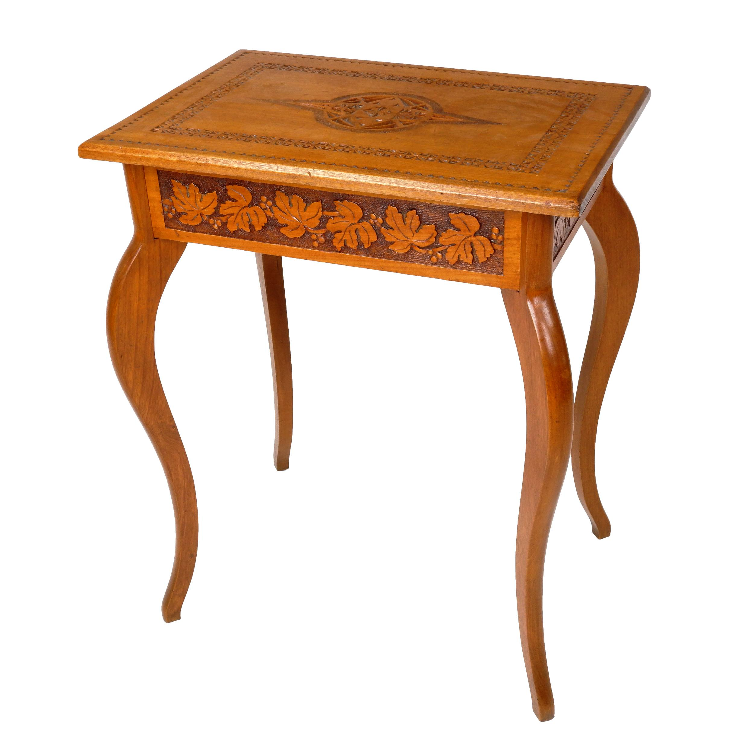 'Arts and Crafts Maple Occasional Table with Chip Carved Decoration and Maple Leaf Boarder, Early to Mid 20th Century'