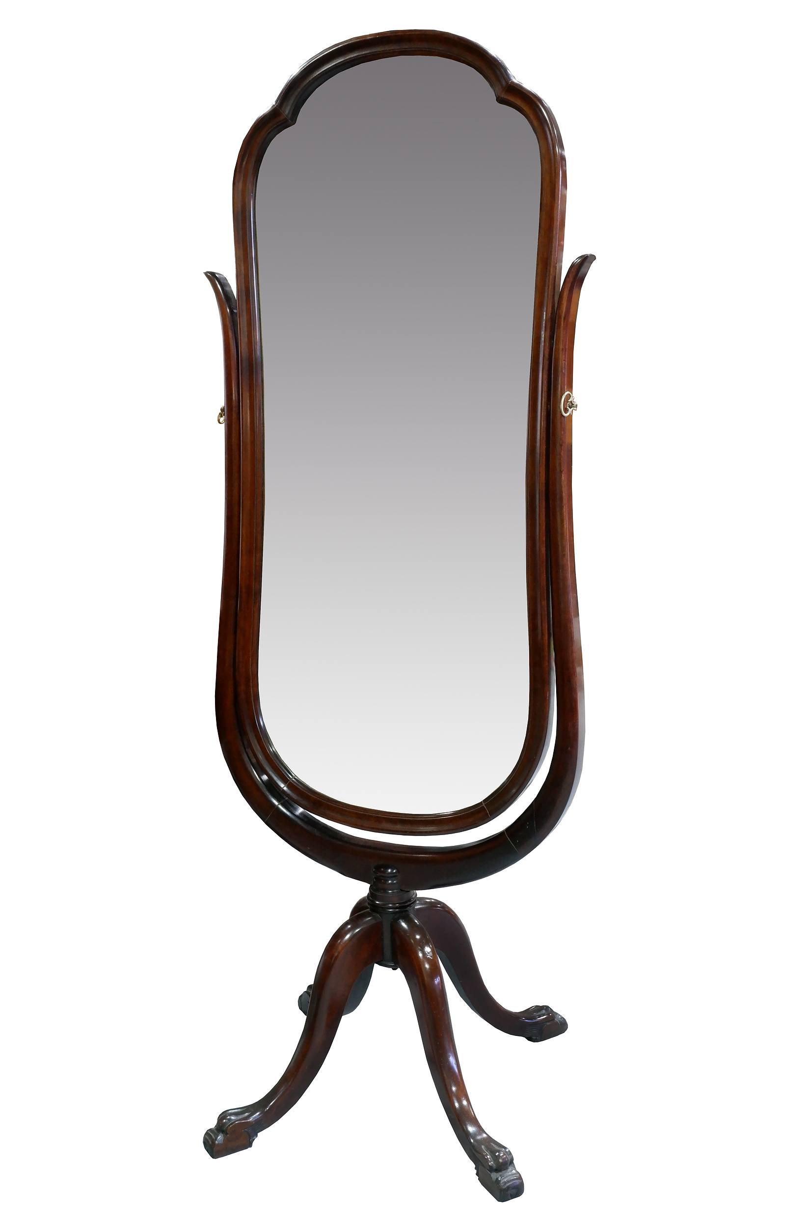 'Antique DCW& Co Cheval Mirror in Cherrywood on Claw Feet, Early 20th Century'