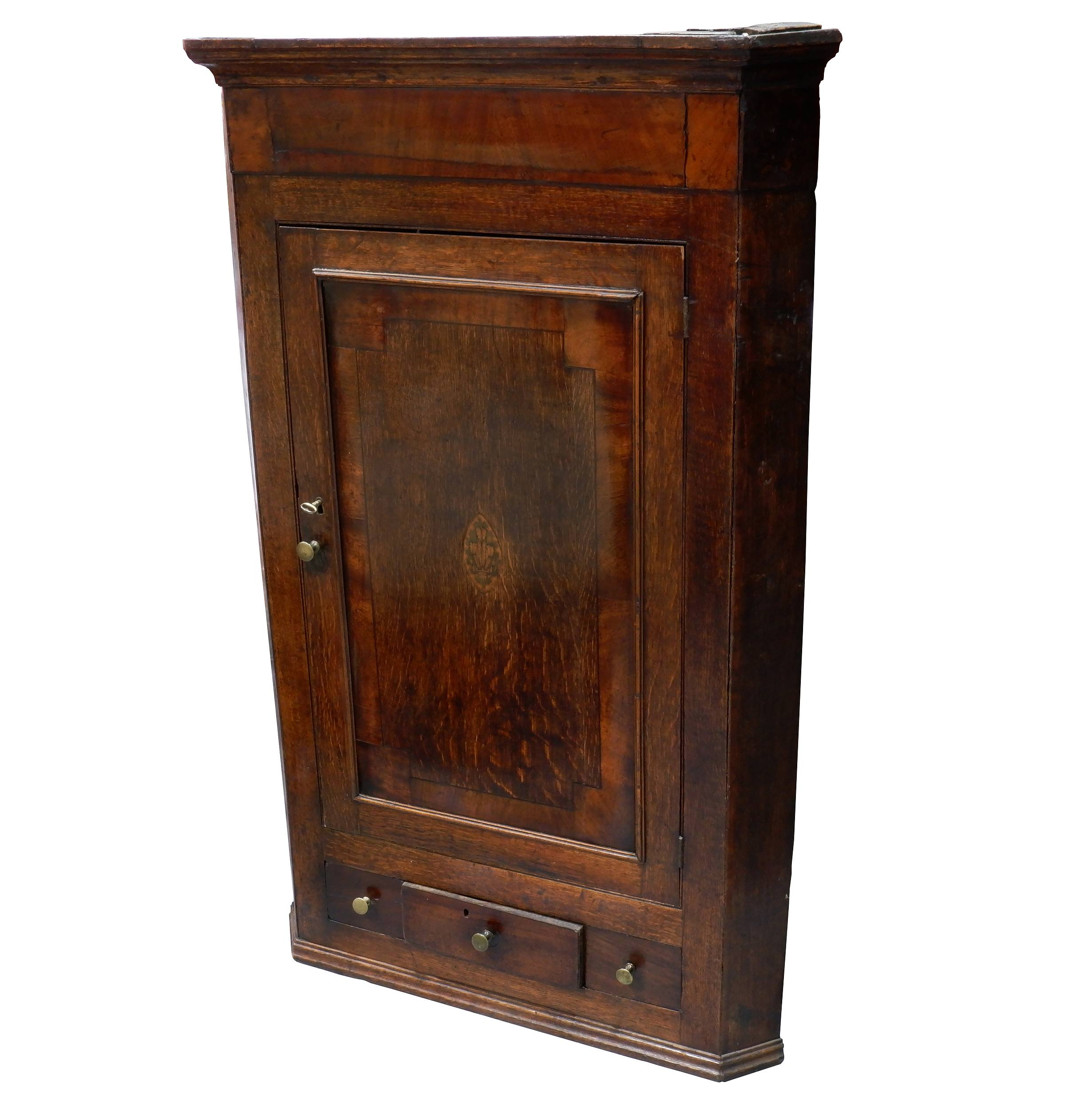'George III Oak and Mahogany Hanging Corner Cabinet, with Prince of Wales Feather Paterae Circa 1780'