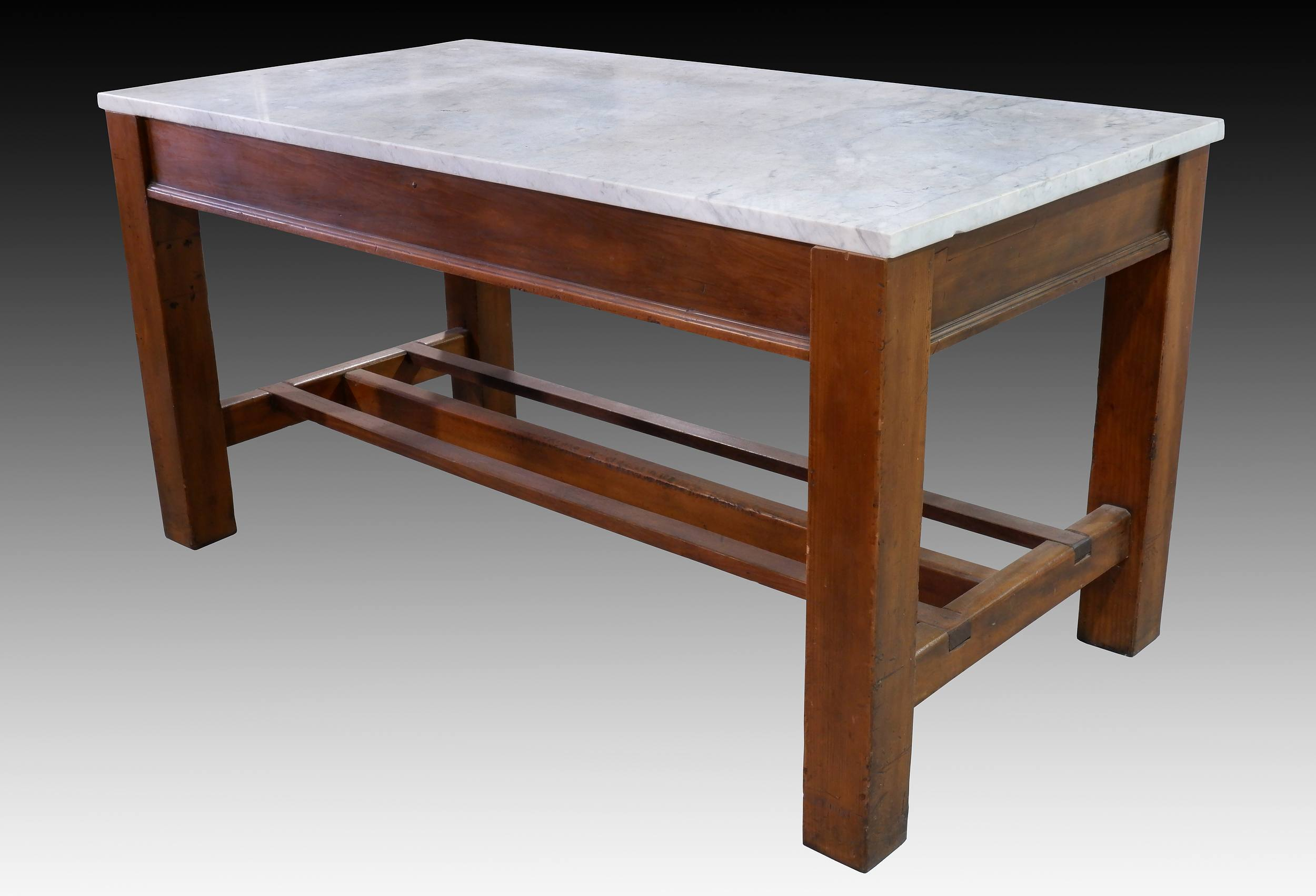 'Antique Pine Kitchen Table with Marble Top and Slatted Shelf Below'