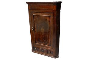 George III Oak and Mahogany Hanging Corner Cabinet, with Central Fleur De Lis Medallion Circa 1780