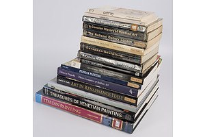 Quantity of Approximately 16 Books Relating to Art Including Italian Painting, K Christiansen, Treasure of Venetian Painting, G S Nepi and More