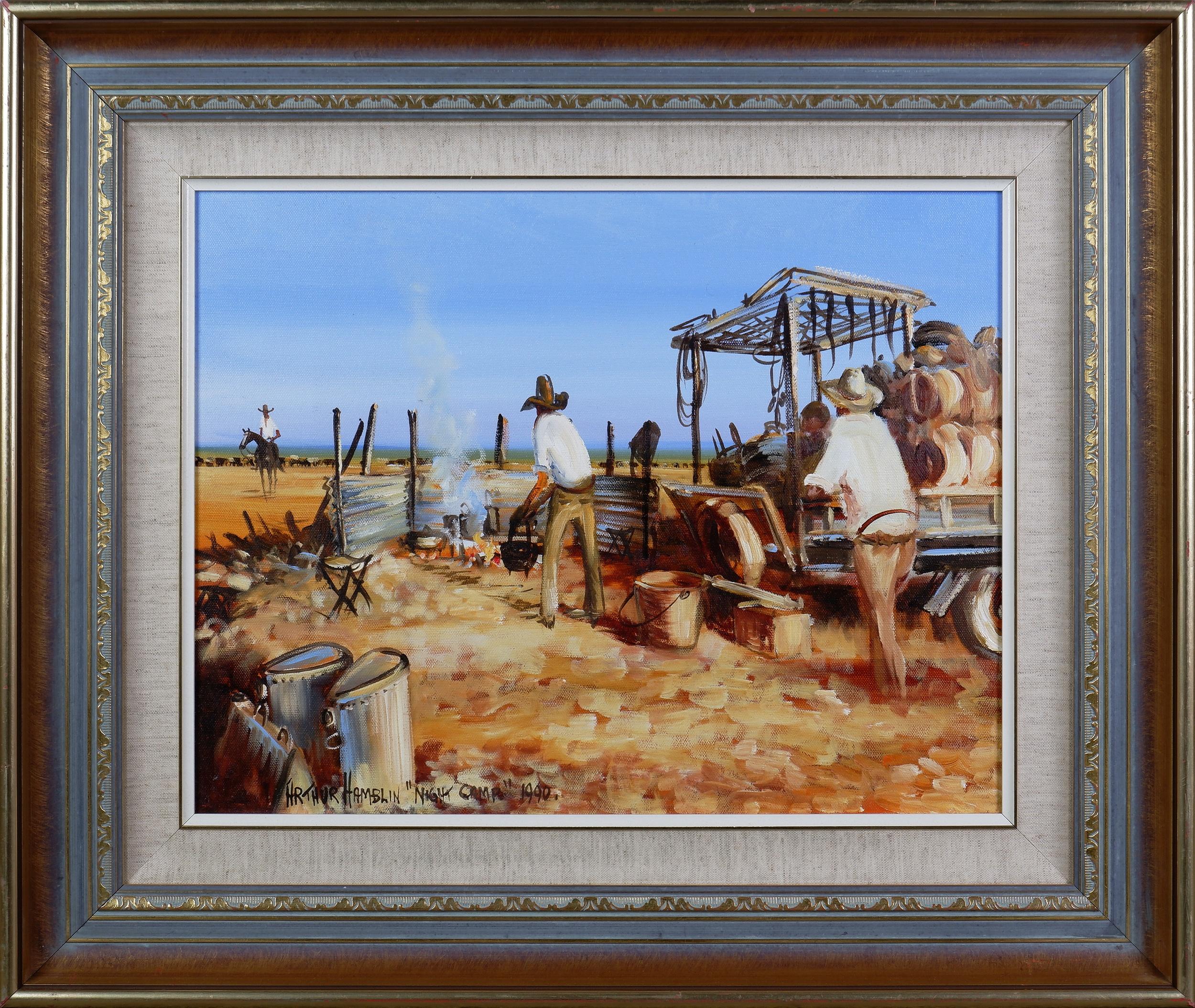 'Arthur Hamblin (born 1933), Night Camp 1990, Oil on Canvas'