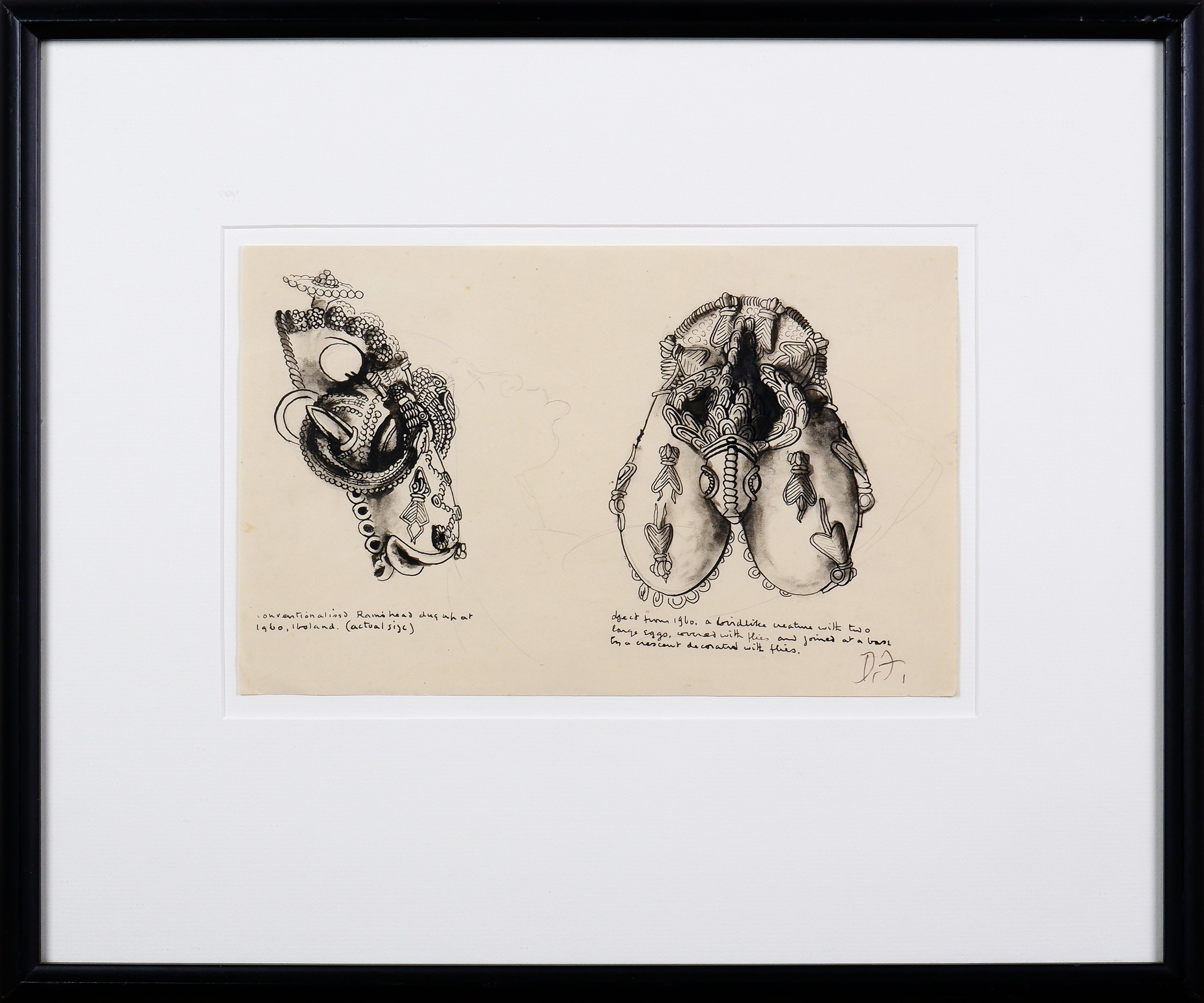 'Donald Friend (1915-1989), Sketch of African Artefacts, Nigeria, 1938, Ink on Paper, 17 x 27 cm (sheet size)'