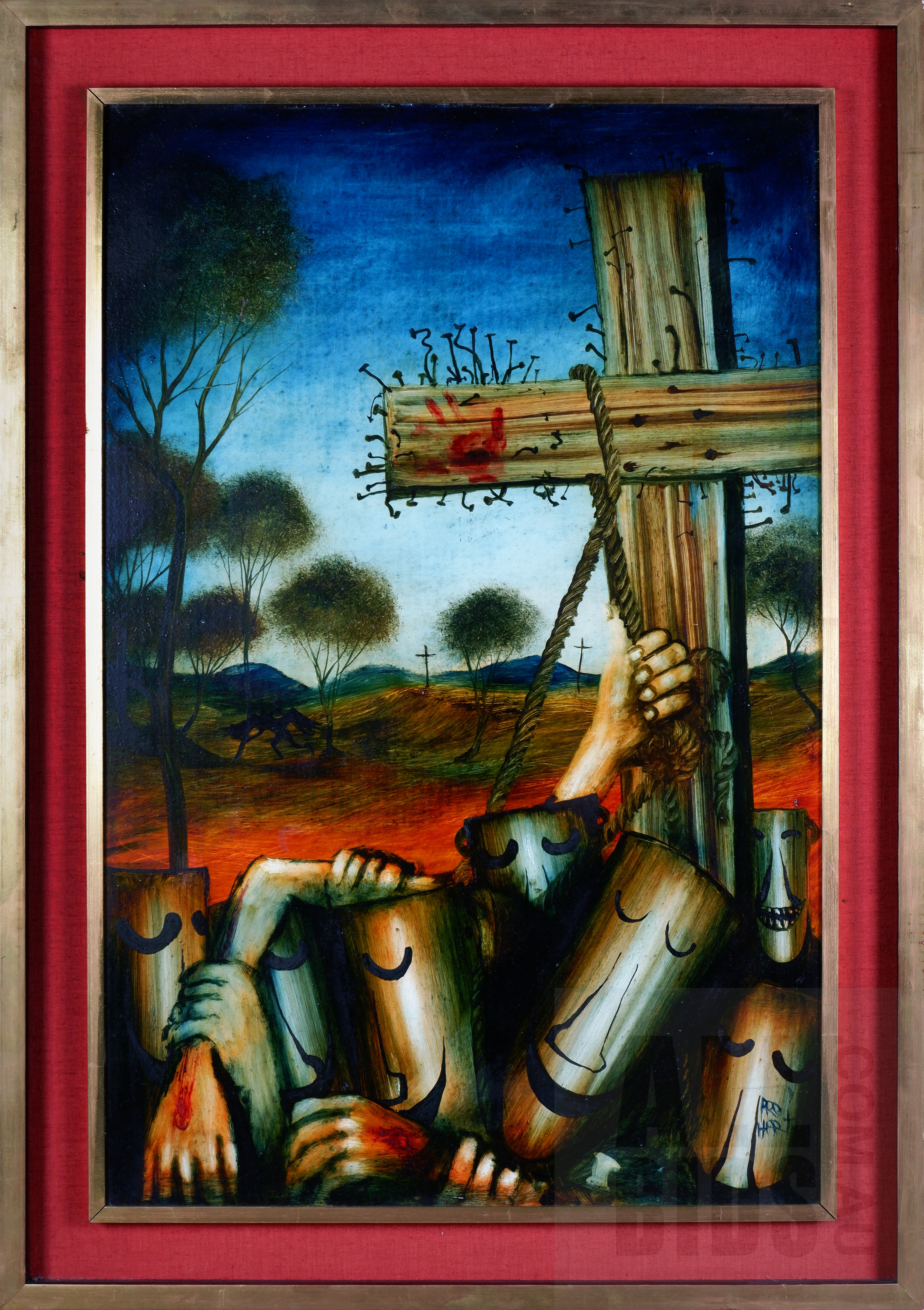 'Pro Hart (1928-2006), Crucifixion (Ned Kelly Heads series), Oil on Board, 92 x 59.5 cm'