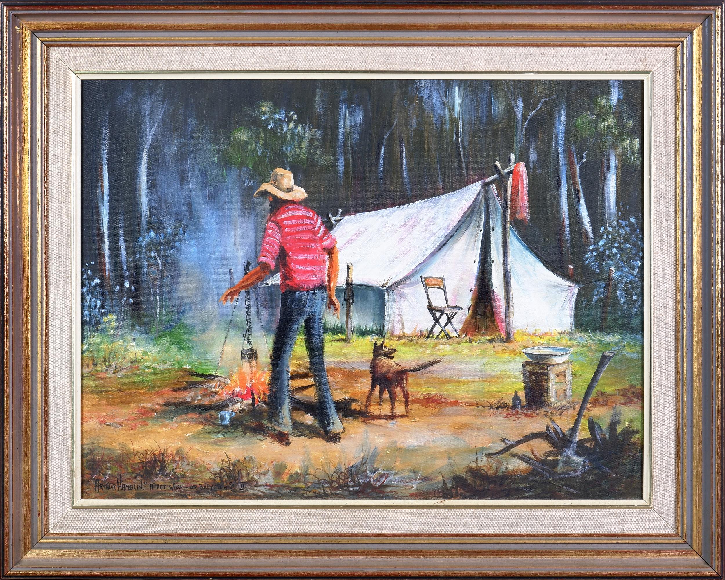 'Arthur Hamblin (born 1933), A Hot Wash or Billy Tea? II 1983, Oil On Canvas, 44 x 56 cm'