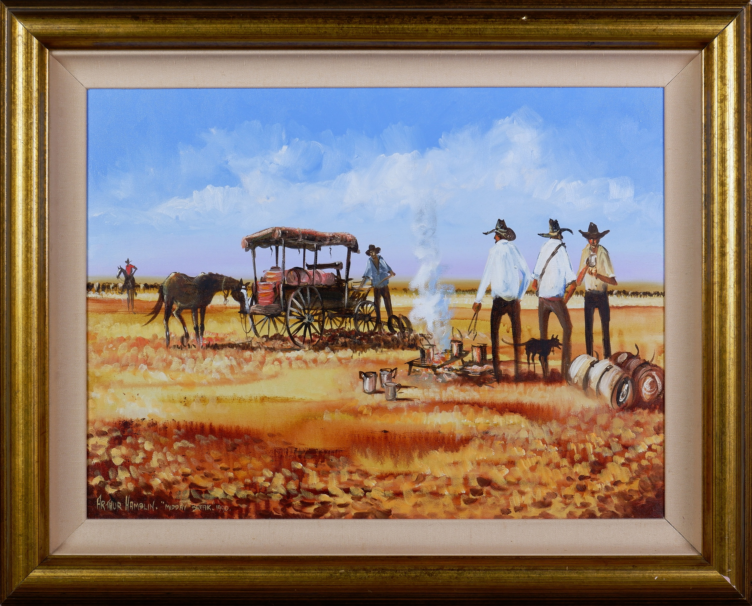 'Arthur Hamblin (born 1933), Midday Break 1990, Oil on Canvas'