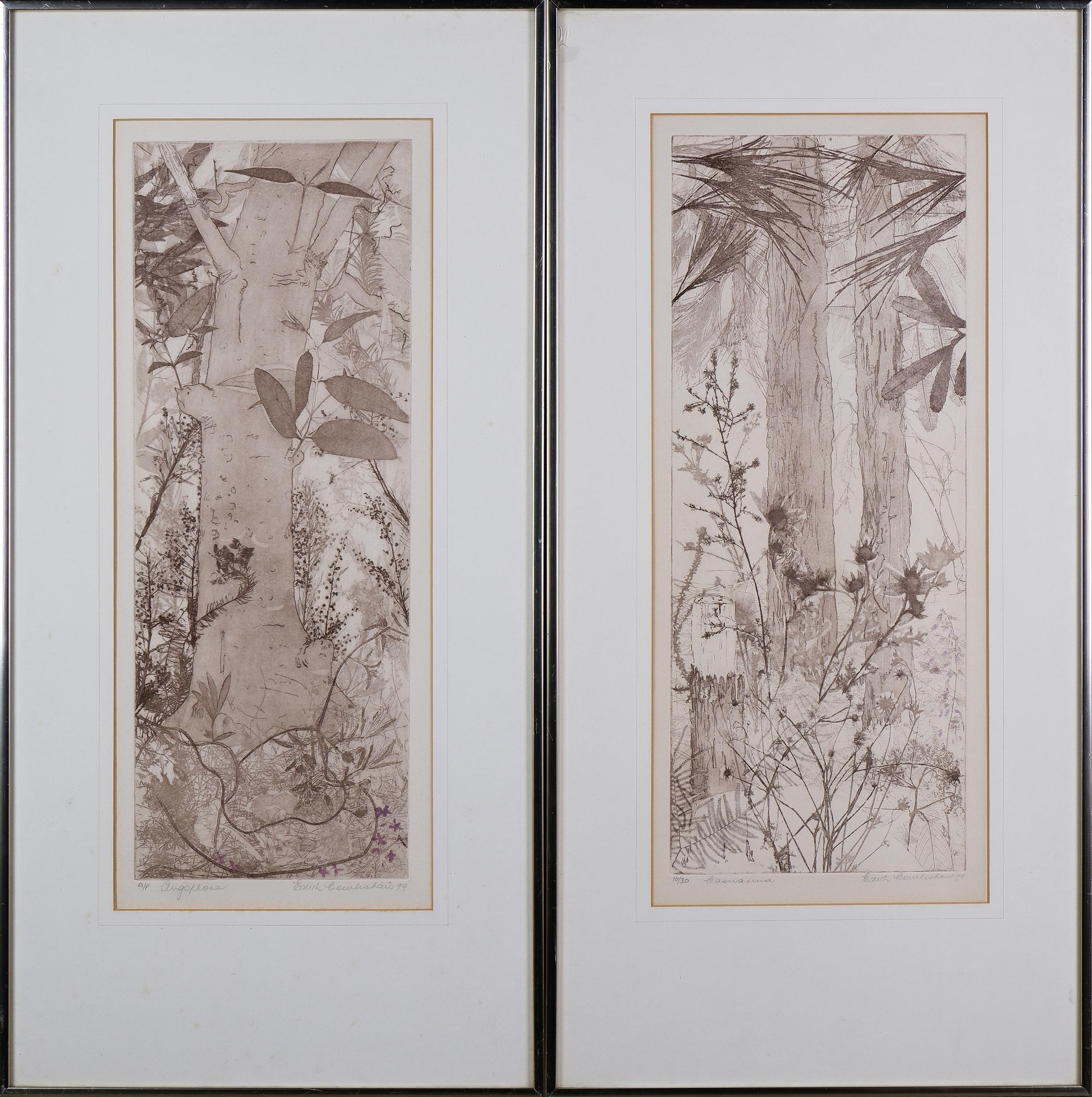 'Edith Cowlishaw (born 1924), Casuarina & Angophora 1979, Etching'