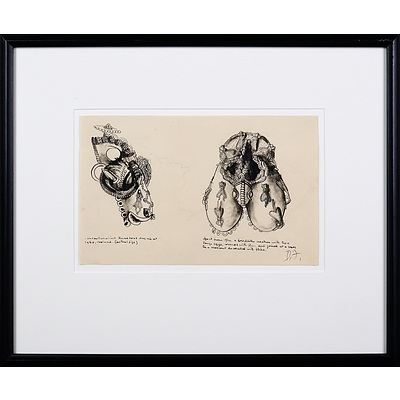 Donald Friend (1915-1989), Sketch of African Artefacts, Nigeria, 1938, Ink on Paper, 17 x 27 cm (sheet size)