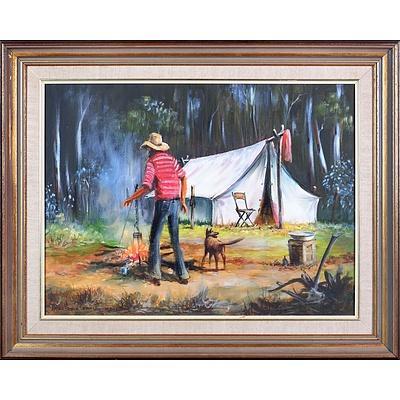 Arthur Hamblin (born 1933), A Hot Wash or Billy Tea? II 1983, Oil On Canvas, 44 x 56 cm