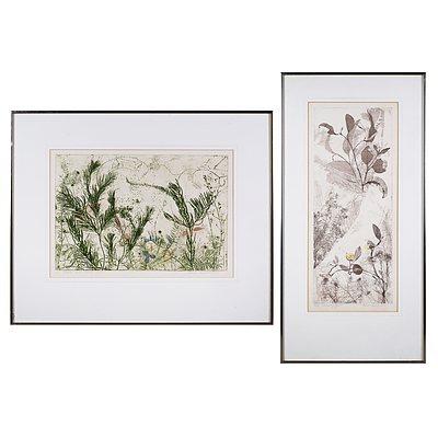 Edith Cowlishaw (born 1924), Scrubby Gum, Etching & Hakea and Iris, Woodcut, largest 50 x 20 cm (2)
