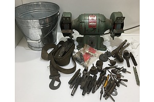 GMF Industrial Grinder, Leather Punches And Assorted Grinding Components