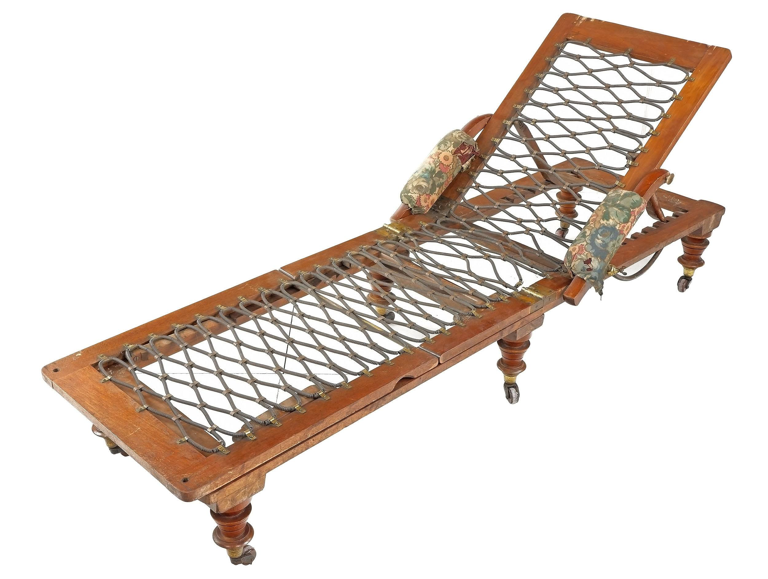 'Victorian Robinson & Sons of Ilkley Mahogany Campaign Daybed, Late 19th Century'