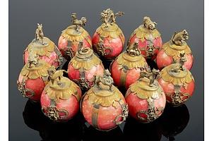 Twelve Chinese Zodiac Gemstone and Silver Metal Ball Figurines