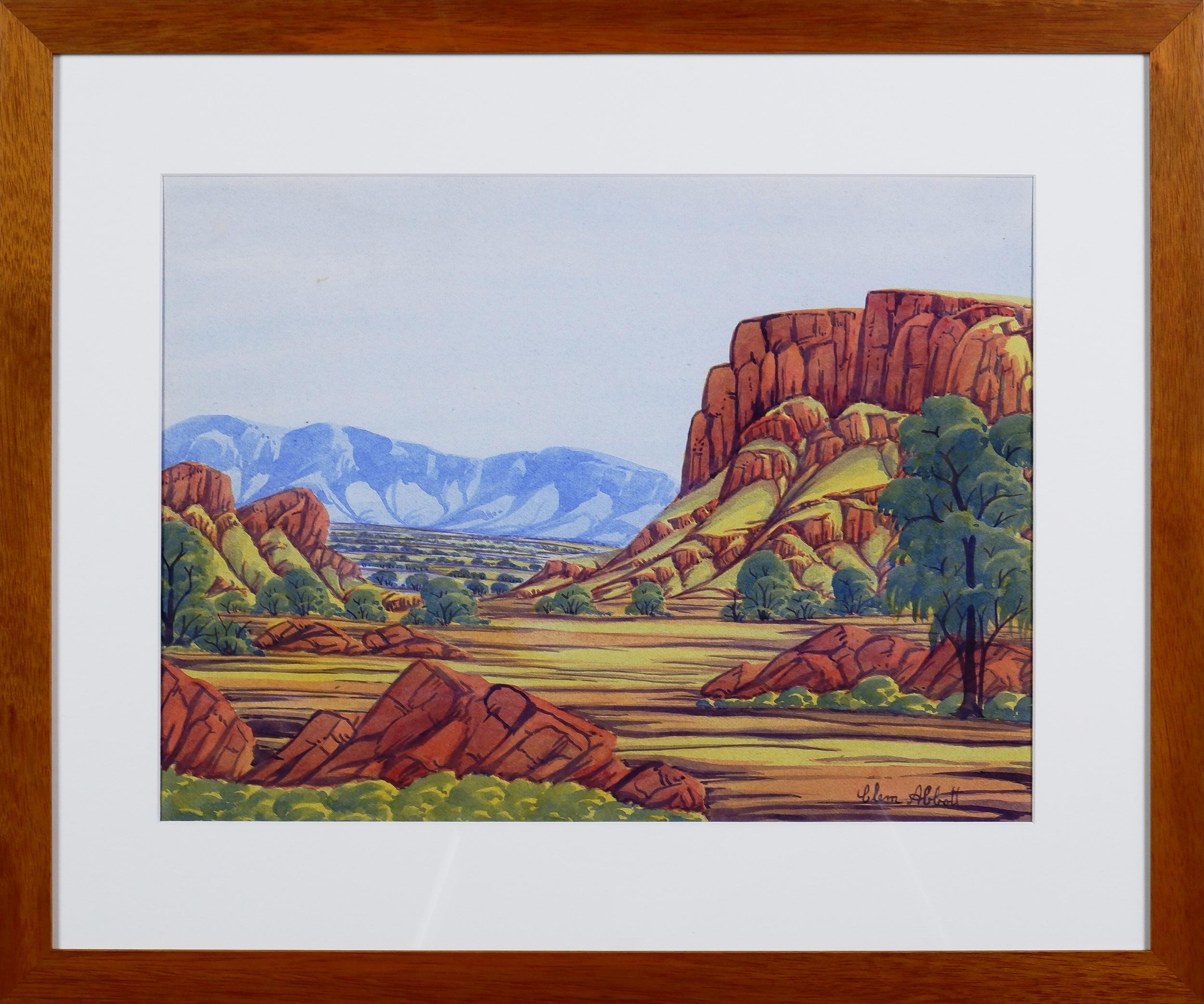 'Clem Abbott (1939 - 1989), Simpsons Gap, Watercolour'