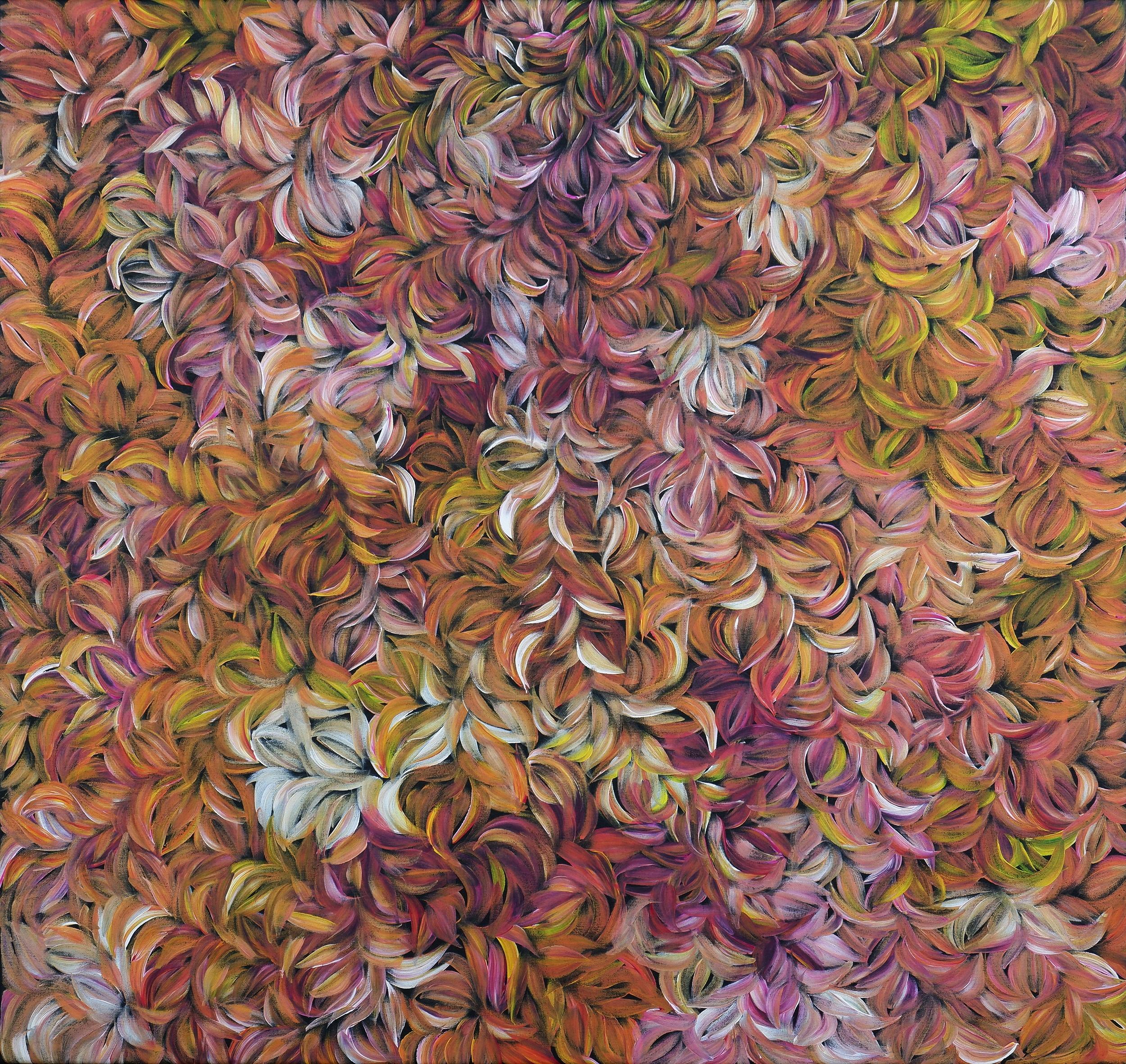 'Margaret Scobie (born c1948), Bush Medicine Leaves, Synthetic Polymer Paint on Canvas'