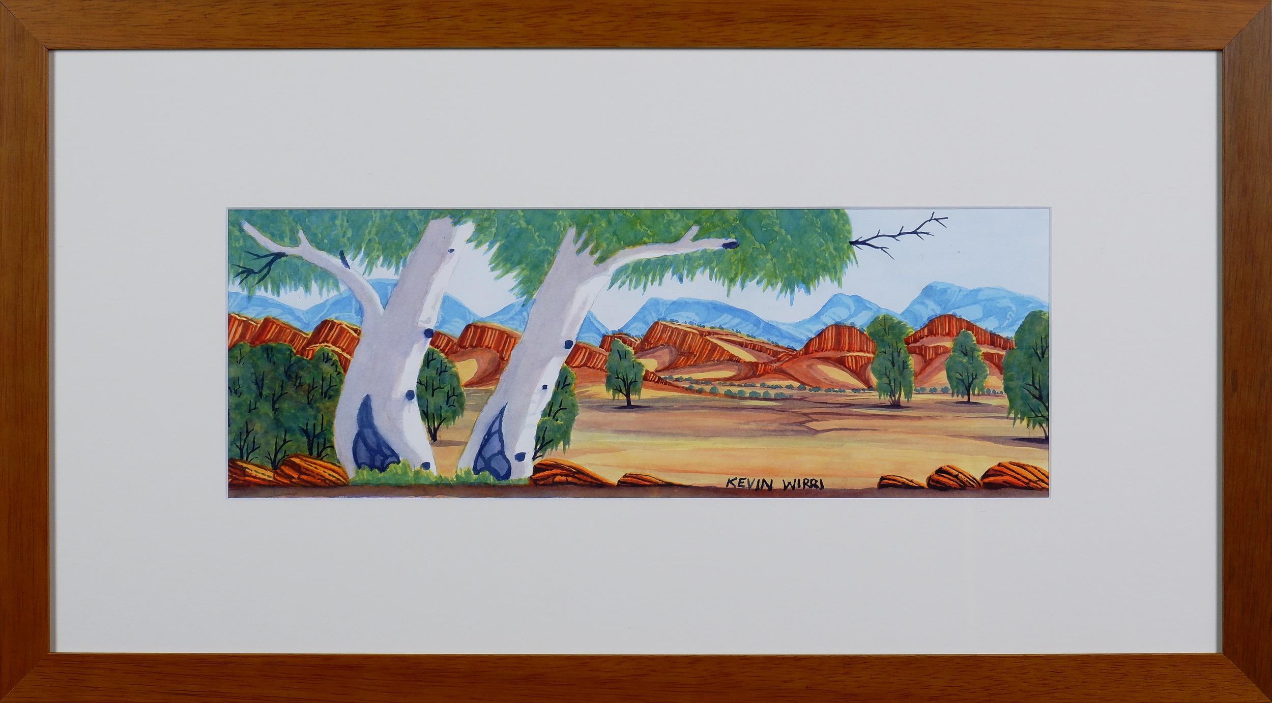 'Kevin Wirri (born 1953) Ghost Gums, MacDonnell Ranges, Watercolour'