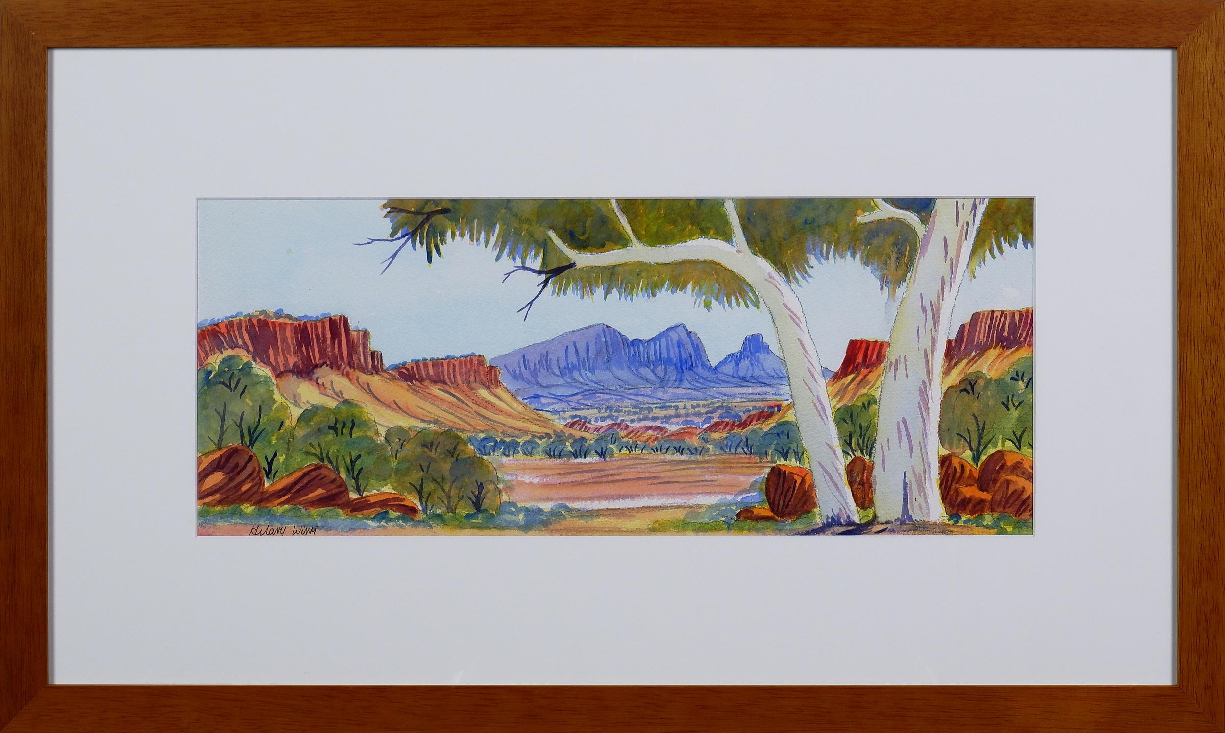 'Hilary Wirri (born 1959), Near Haasts Bluff, Watercolour'