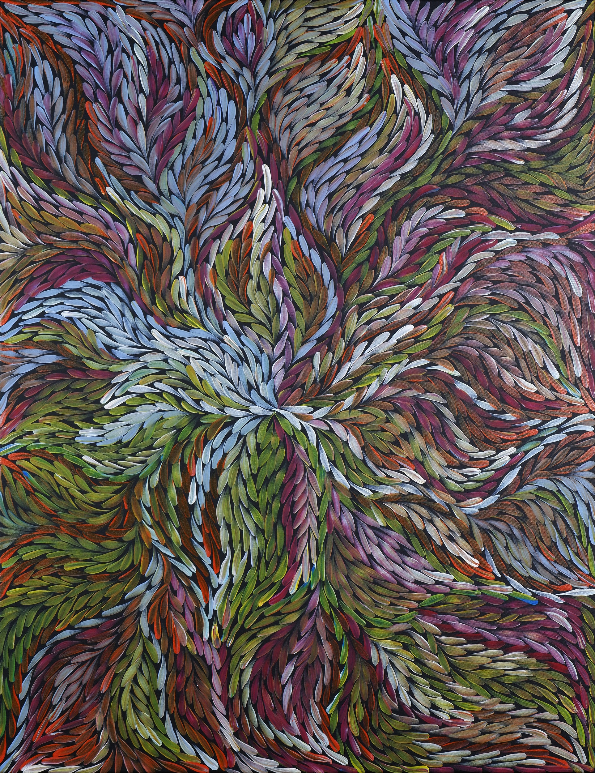 'Rosemary (Pitjara) Petyarre (born c1965), Yam Leaf Dreaming, Synthetic Polymer Paint on Canvas'