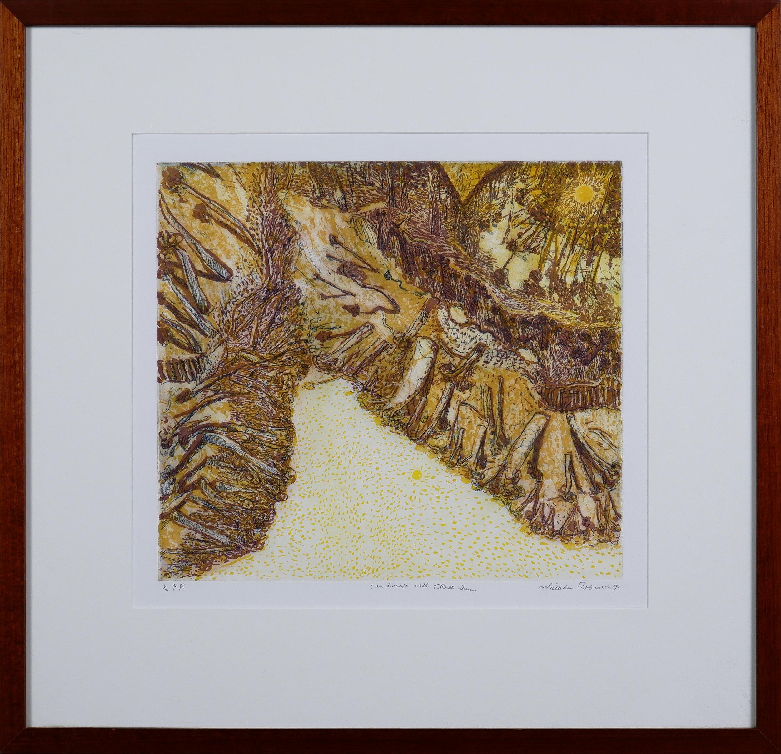 'William Robinson (born 1936), Landscape with Three Suns 1991, Colour Etching'