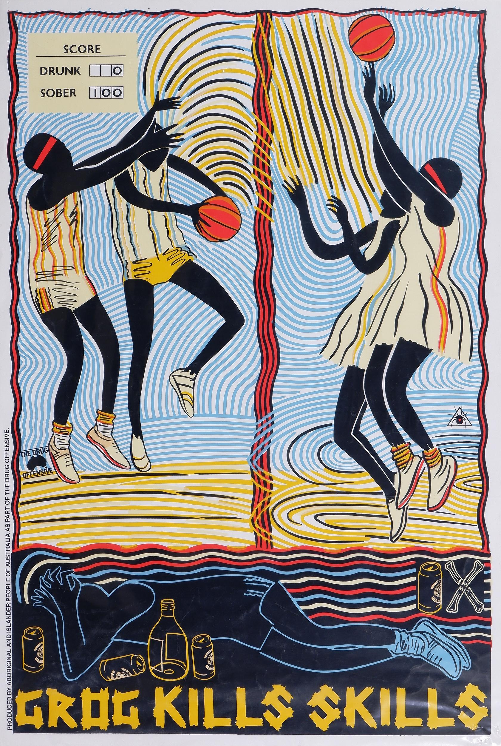 'Marie McMahon (born 1953), Grog Kills Skills, Basketball 1988, Colour Screenprint'