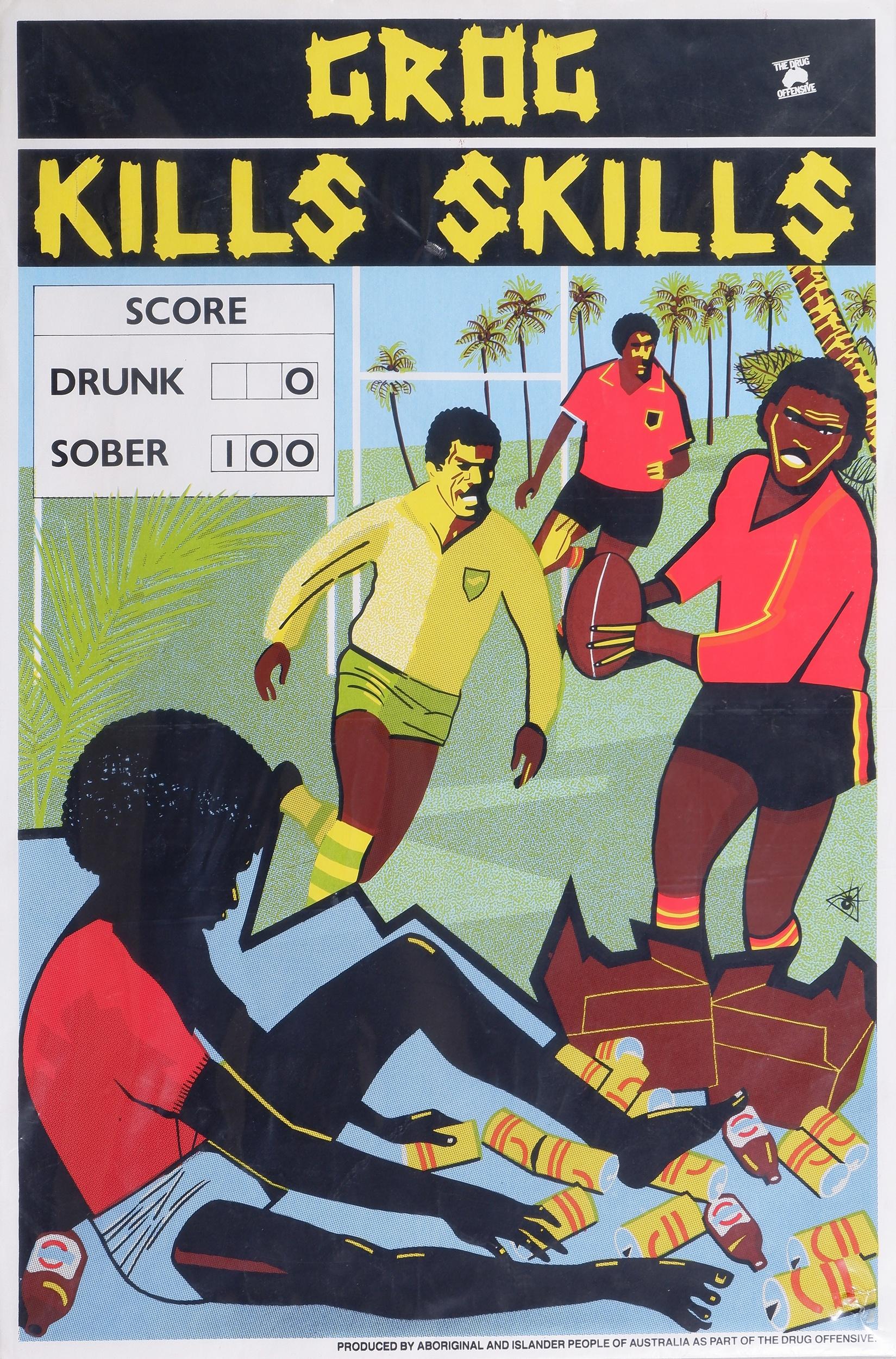 'Marie McMahon (born 1953), Grog Kills Skills, Football 1988, Colour Screenprint'