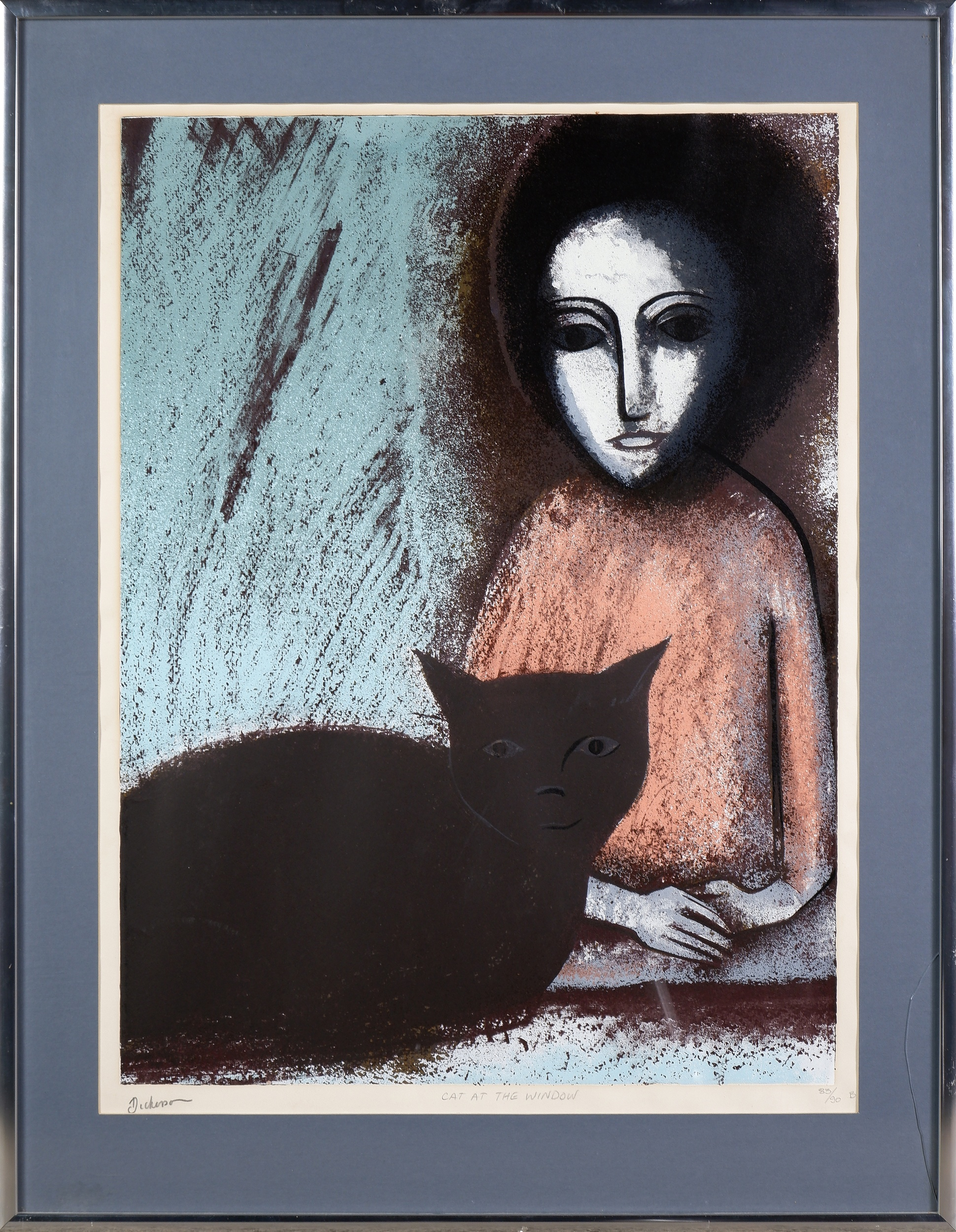 'Robert Dickerson (1924-2015), Cat at the Window, Lithograph'