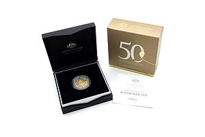 RAM Limited Edition 2016 50th Anniversary of Decimal Currency Fine Silver and Gold Plated 50c Coin,  No 23
