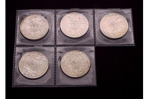 Five 1966 Round 50c Coins
