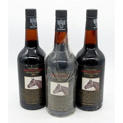Three Bottles Yalumba Racing Series Vintage Port 'Kingston Town' 1980 (3)