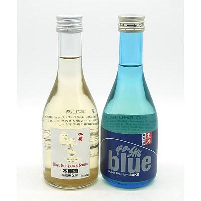Go-Shu Blue Super Premium Sake 300ml and Jinyu Honjouzou Nama 300ml (2)