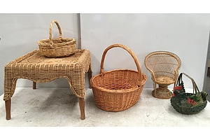 Wicker Baskets, Wicker Occasional Table, Rattan Egg Basket And Woven Reed Peacock Chair - Lot OF Five