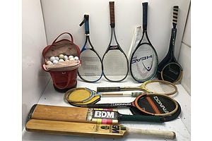 Cricket Bats, Tennis Racquets and Golf Balls