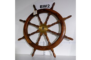 Large Antique Style Wooden Ship's Wheel with Brass Centerpiece