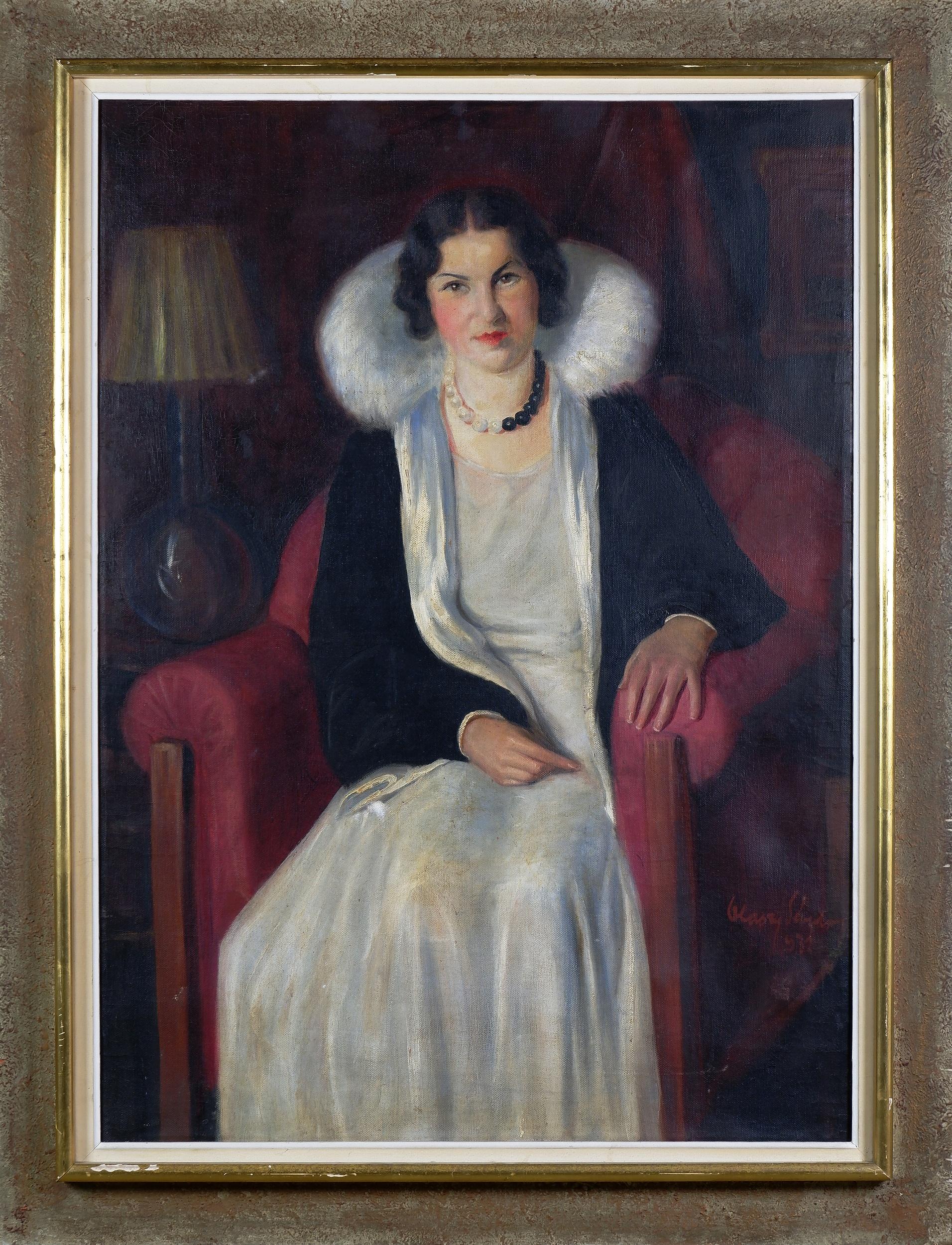 'European School (20th Century), Portrait of a Woman 1932, Oil on Canvas'