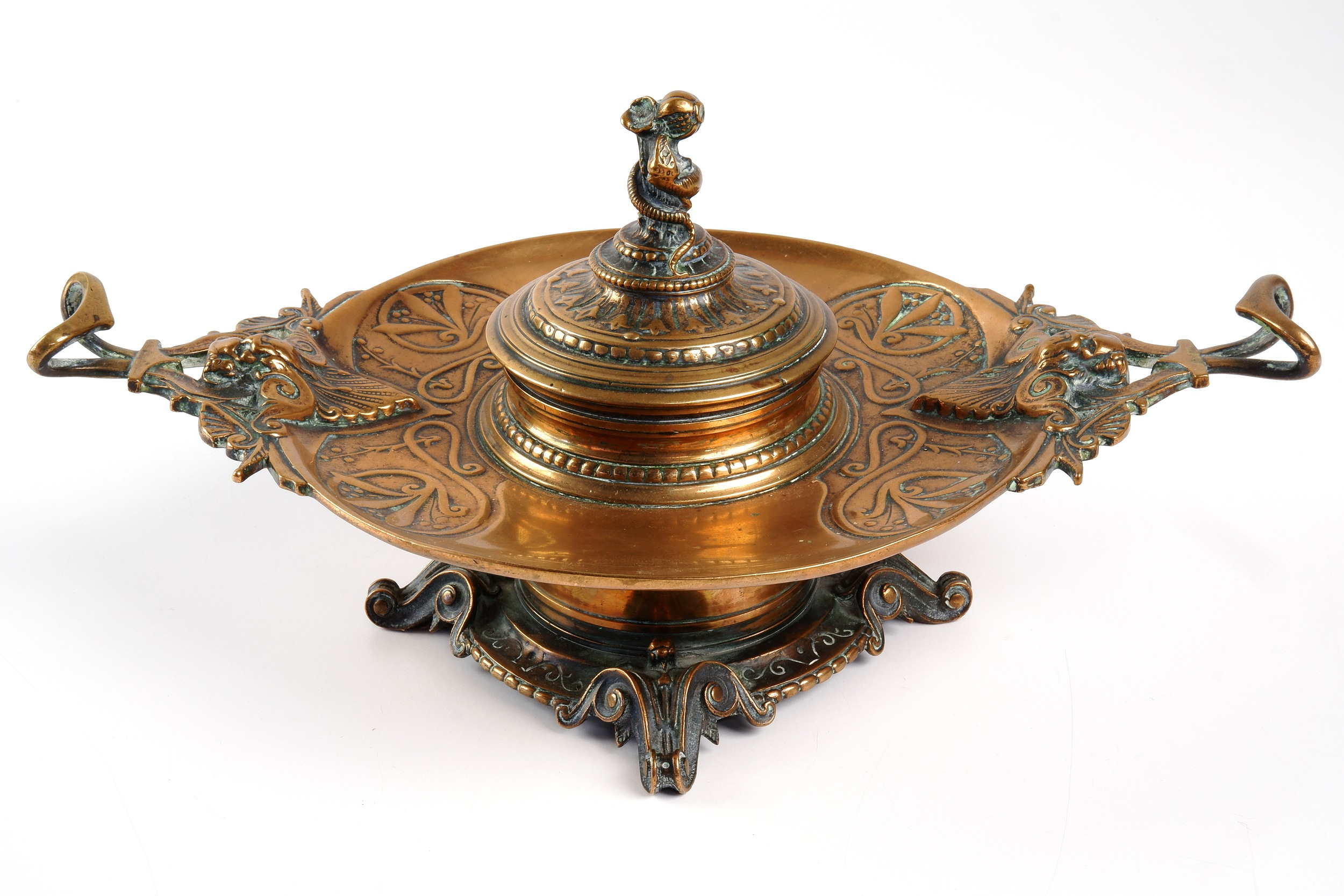 'Art Nouveau Cast Brass and Copper Inkwell with Coiled Serpent Finial, Early 20th Century'