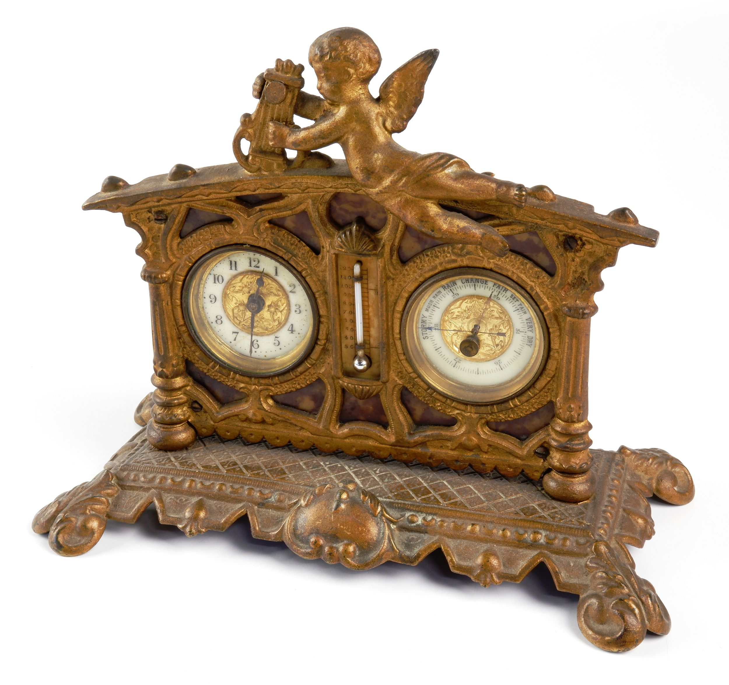 'Antique Art Nouveau Gilt Metal Desk Clock with Barometer and Humidity Gauge with Cherub and Lyre Finial'