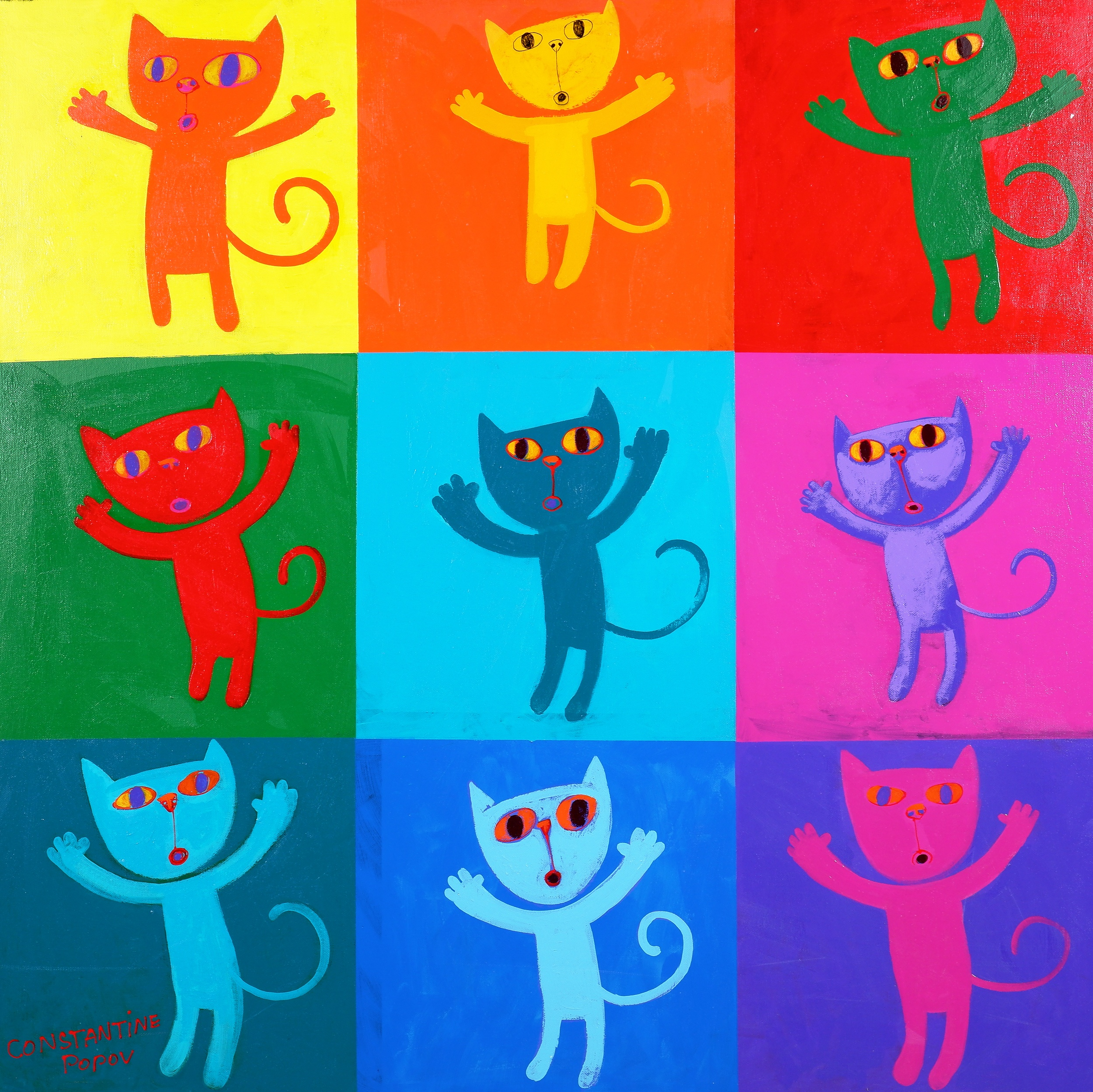 'Constantine Popov (born 1965), Untitled (Cats), Synthetic Polymer Paint on Canvas'