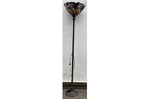Metal Standard Lamp With Stained Glass Shade