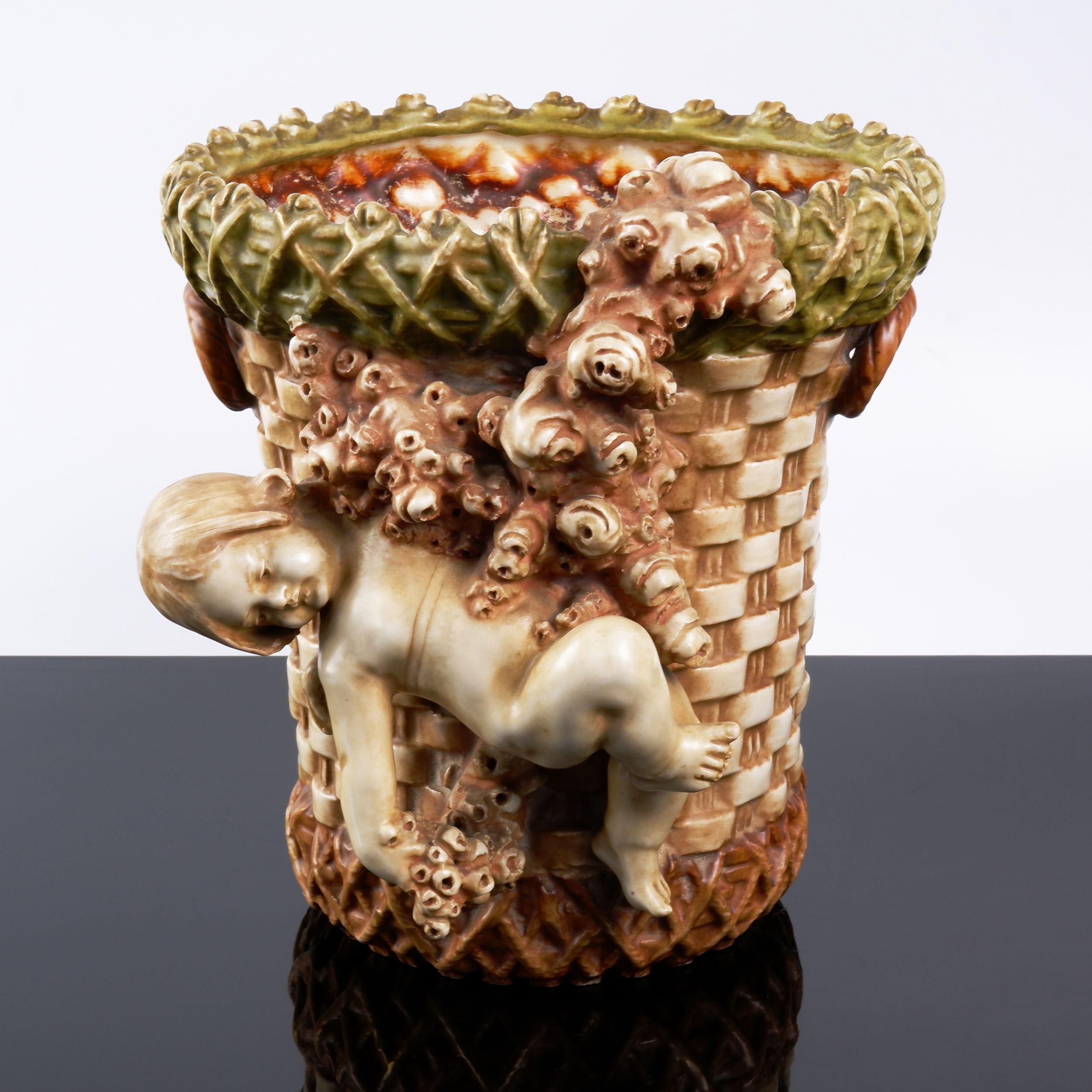 'Austrian Amphora Painted Ceramic Cherub Vase'