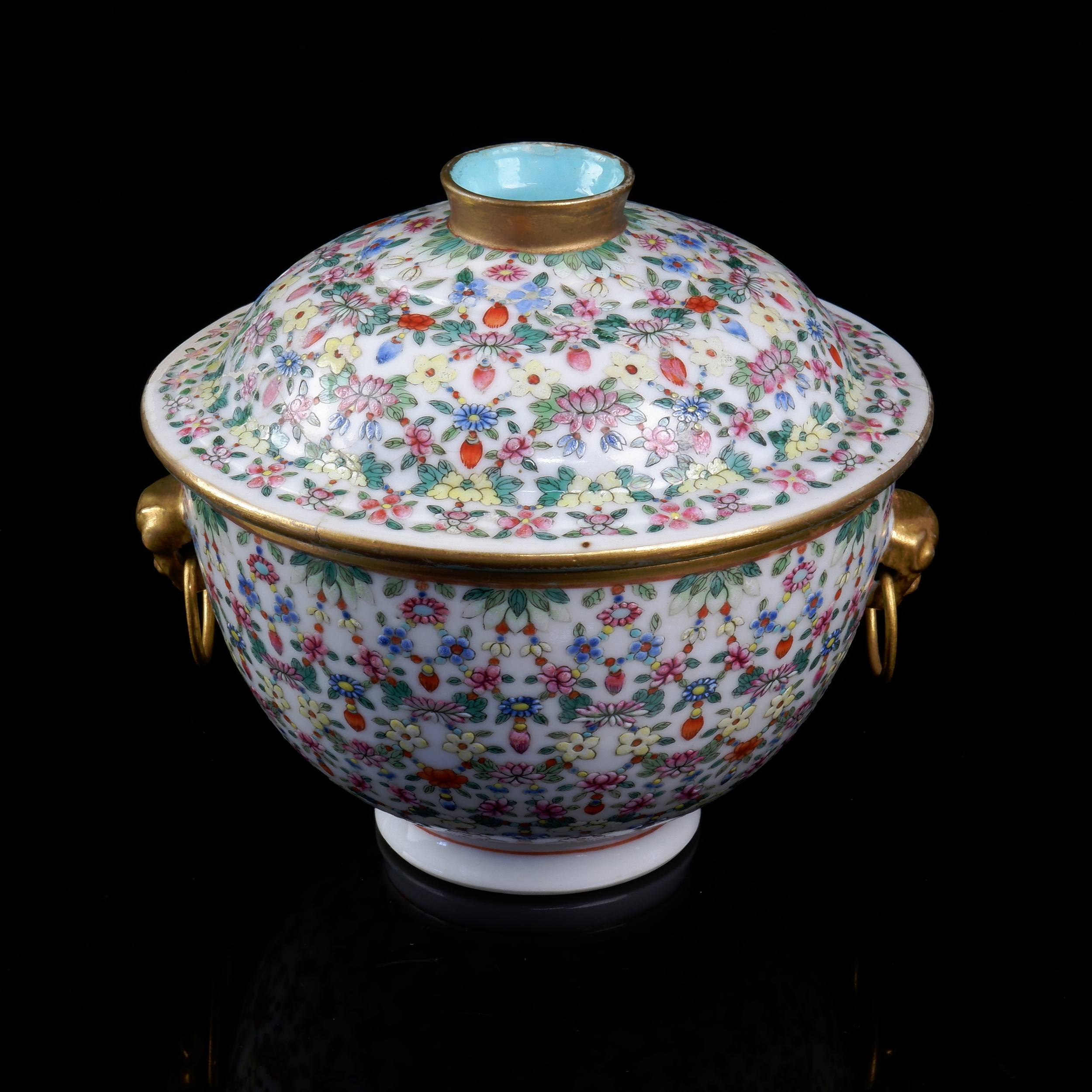 'Chinese Tea Bowl with Lid and Lion Head Handles'
