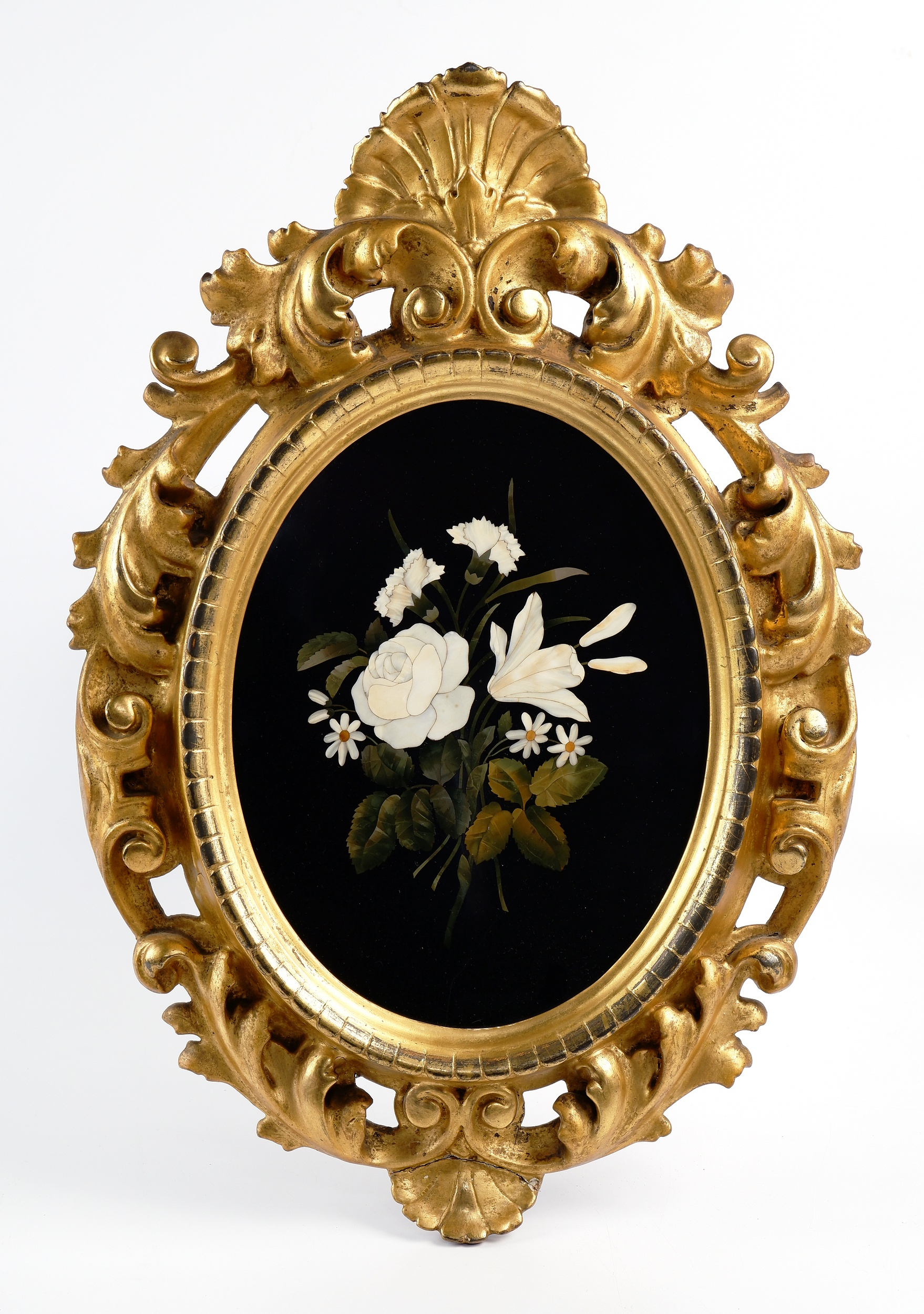 'Italian Pietra Dura Inlaid Marble Floral Plaque in Giltwood Frame'