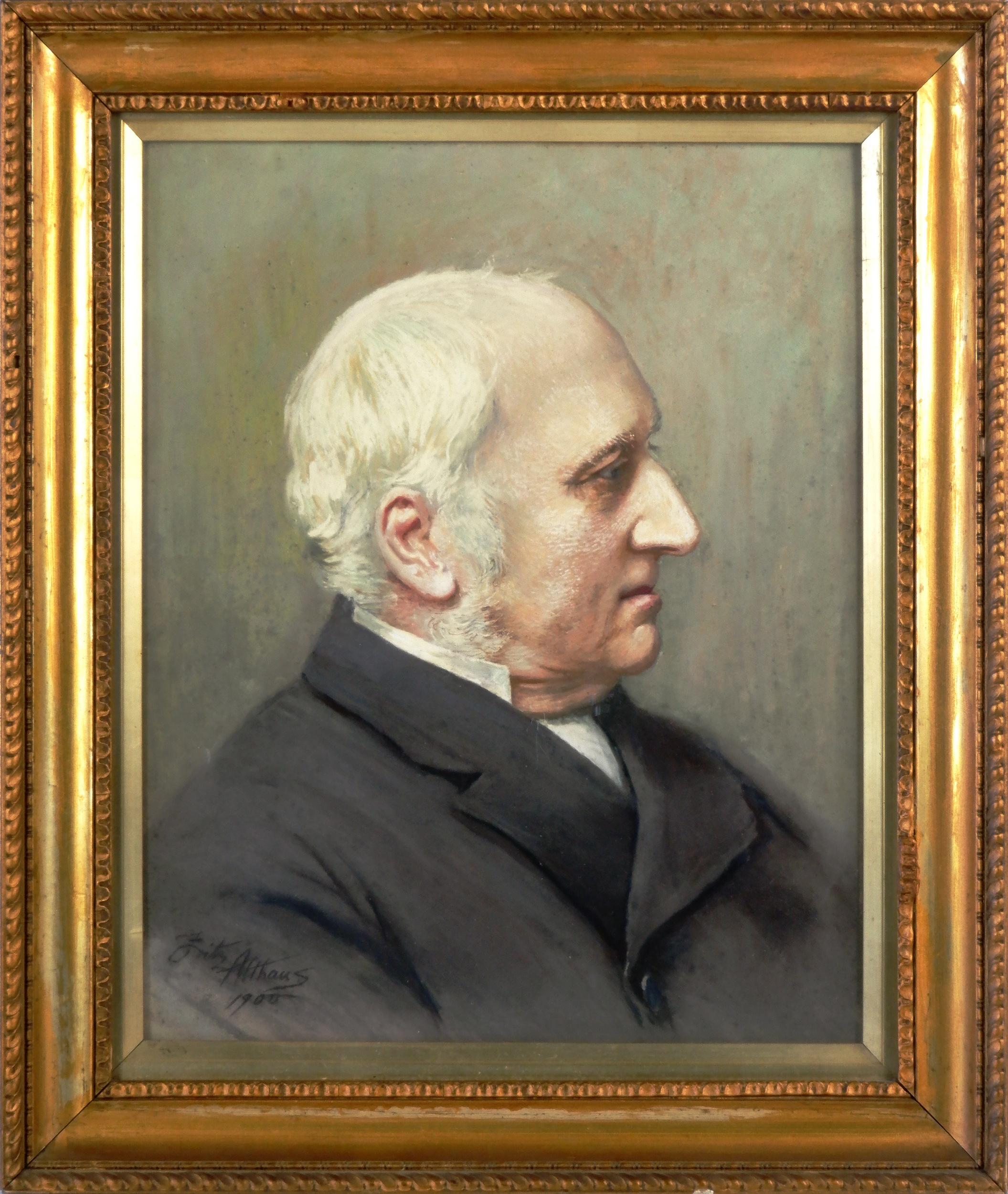 'Fritz Althaus (England 1881-1914) Portrait 1900, Oil on Board'