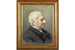Fritz Althaus (England 1881-1914) Portrait 1900, Oil on Board