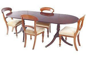 Antique Style Dining Suite with Lion Paw Sabots and Four Victorian Dining Chairs