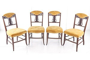 Four Antique Lyre Back Dining Chairs