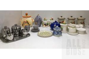 Lot Of Assorted Homewares, Including Tea Pots, Tea Sets, Storage Containers