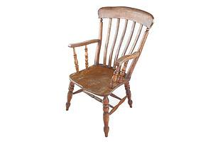 Antique Country Elm High Back Armchair